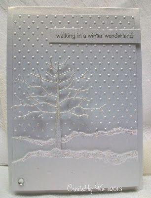 handmade Winter card from Viv's Visuals ... diecut twiggy tree ... torn edg snow banks ... dot embossing folder texture ... beautiful card!!