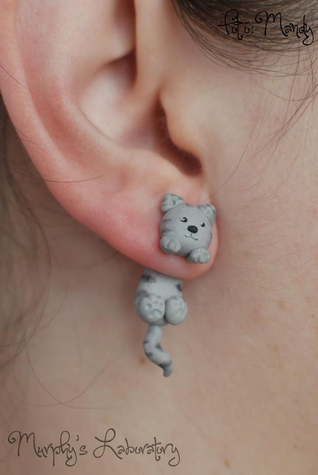 cute clay cat earings - Murphy's Laboratory - for all you cat lovers out there…
