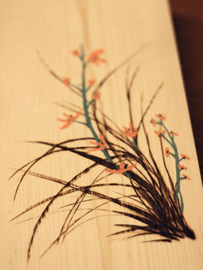Wood burning of kaffir lily via Etsy. Another lightly done piece with just a touch of color, very nice ;)