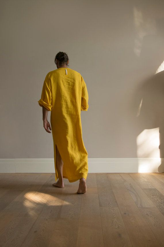 Curry colour MENS tunic. Simple and relaxed garment by YUMEworld