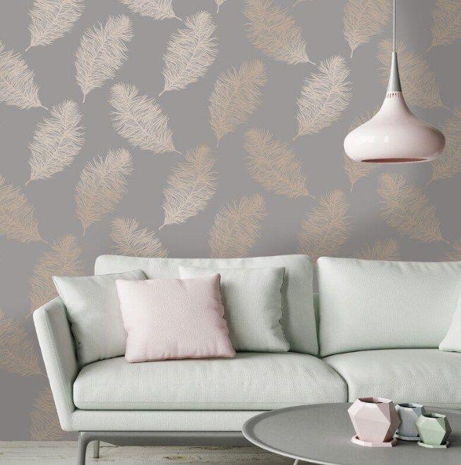 Living Room Wallpaper Holden Decor Fawning Feather Grey Rose Gold Metallic Wallpape Room Wallpaper Designs Gold Wallpaper Living Room Gold Metallic Wallpaper
