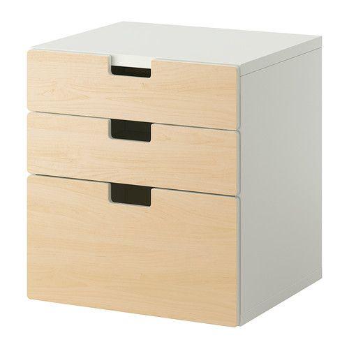 STUVA Ladekast 3 lades - berken - IKEA - 64Hx60Bx50D = 66 euro - onderste schuif is 32 hoog - 2 andere schuiven zijn 16 hoog