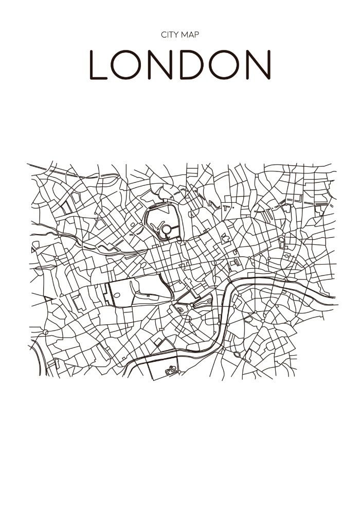 Poster london city map minimal wall art black and white for Scandinavian design london