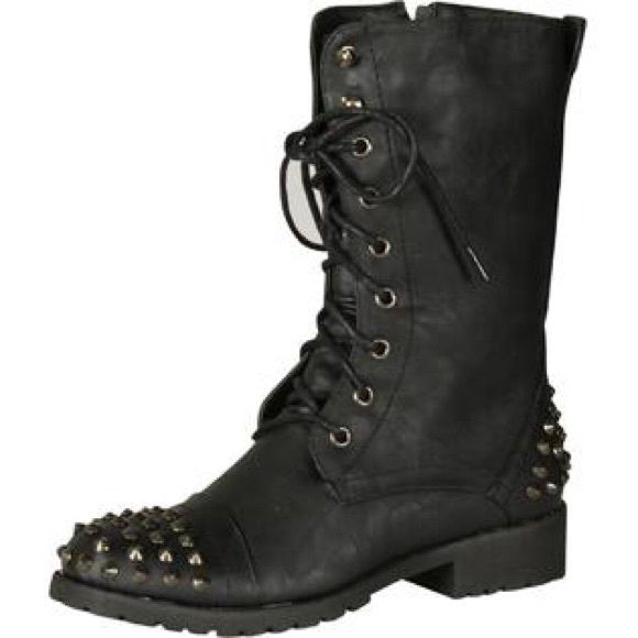 ✨black Studded Combat Boots✨ Black studded combat boots. So comfortable! Great condition. Stud detail on toe and heel Nature Breeze Shoes Combat & Moto Boots
