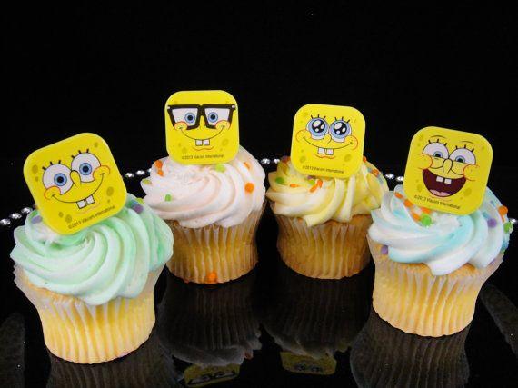 Sponge Bob Cupcake Rings Sponge Bob Party by MamaMiasCupcakes