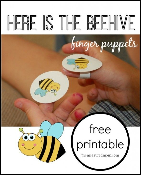 "Free finger puppets for the children's rhyme ""Here is the Beehive"""