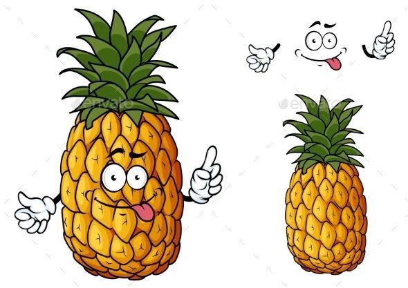 Cartoon Pineapple Fruit Waving a Hand