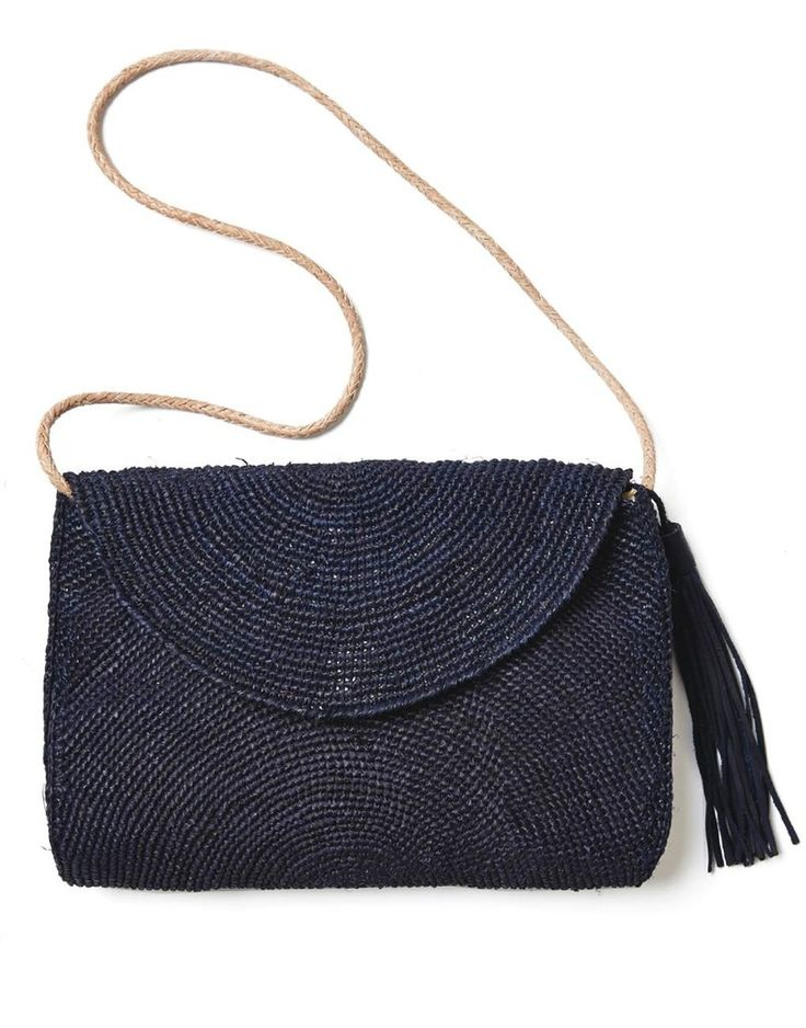"""- Description - Artisan Carry this bag everyday to complete your casual beach style. * Pouch: approximately 9.5""""h x 12""""w x 3""""d * Strap: approximately 16"""" * Hand crocheted with raffia * Features cotton"""