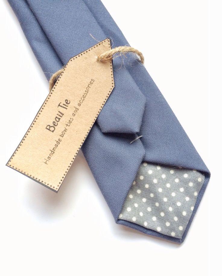 blue skinny tie, mens skinny tie, blue/grey skinny tie, wedding tie by BeauTieUK on Etsy