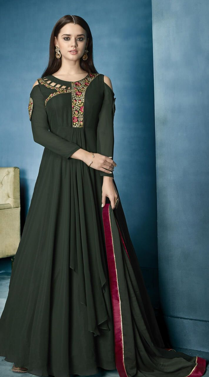 6d9aec18b80c2 Pretty Dark Green Lichi Georgette  coldshoulder  anarkali  suits-  indiabazaaronline