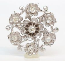 Antique Platinum Mine Cut Diamond Flower Design Pendant