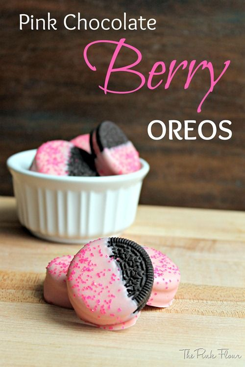 Pink Chocolate Berry Oreos -- I don't know if the berry Oreos are still around, but we could do this with the birthday cake ones!