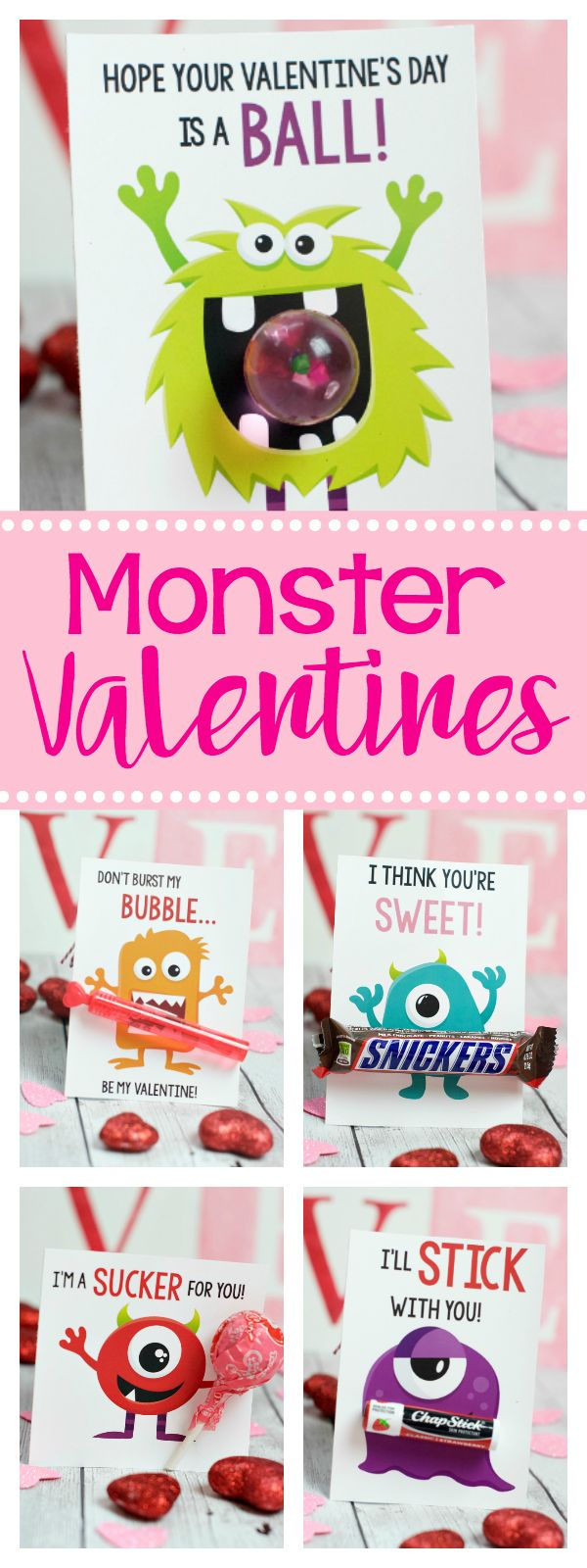 300 best Valentines Day Printables and Cards The Crafting – Monster Valentine Cards