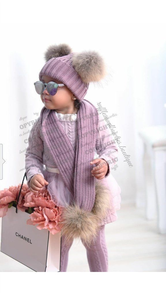 ****CUSTOMER FAVORITE***** PRE ORDER - Dusty Mauve Double Pom Fur Knitted Beanie Hat - Baby Beanie Fur Pom Hat - Fall Hat - Winter Hat - Baby Hat - Real Fur Pom Hat