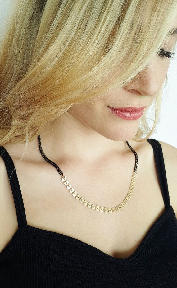 Black And Gold Necklace  chain necklace   squares by netalyshany