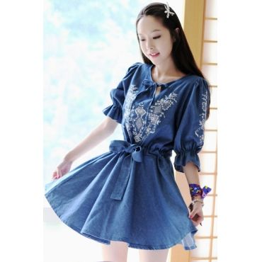 USD12.99Fashion O Neck Half Sleeve Pleated Blue Denim Mini Dress