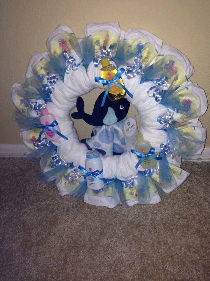 Whale diaper wreath