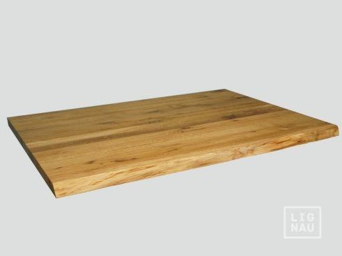 Arbeitsplatte Tischplatte Massivholzplatte Eiche Rustikal mit naturbelassene unbesäumte Vorderkante 40 mm Farblos Naturgeölt