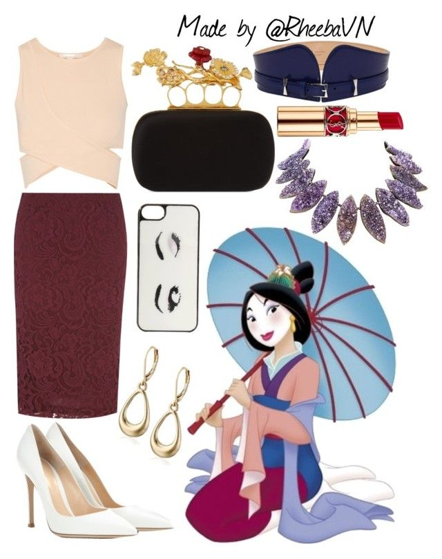 """Mulan 3"" by rheebavn ❤ liked on Polyvore featuring Disney, Alice & You, Alexander McQueen, Jonathan Simkhai, Napier, Gianvito Rossi, Kate Spade and Yves Saint Laurent"