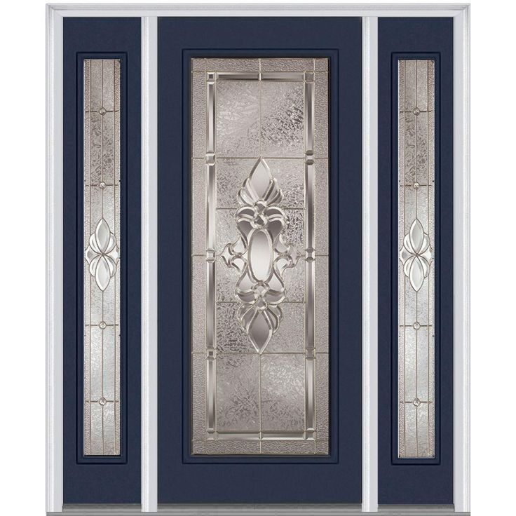 Milliken Millwork 68.5 in. x 81.75 in. Heirloom Master Decorative Glass Full Lite Painted Majestic Steel Exterior Door with Sidelites-Z003131L - The Home Depot