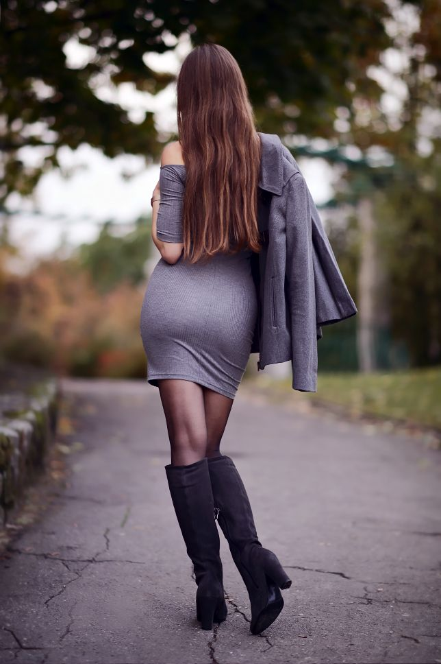 Http Www Ari Maj Com 2016 11 Szara Obcisa Sukienka Szary Paszcz Html Cuissardes Jupe Bottes