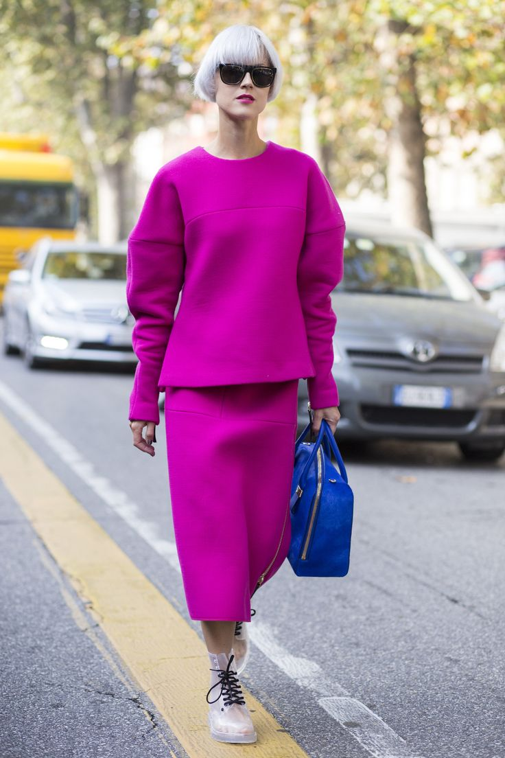 Brights in street style. Linda Tol at Milan Fashion Week Spring 2015.