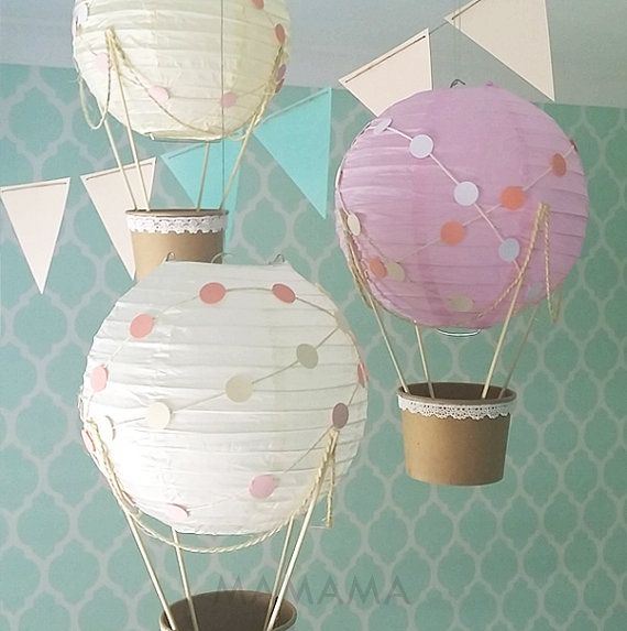 Whimsical Hot Air Balloon decoration DIY Kit polkadots - nursery decor - travel theme nursery - set of 3