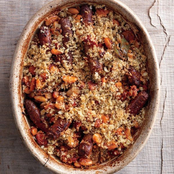 Pork and beans never had it so good. This Spanish riff on French cassoulet pairs large, meaty beans with fresh sausages under a breadcrumb crust. Save time by quick-soaking the beans.
