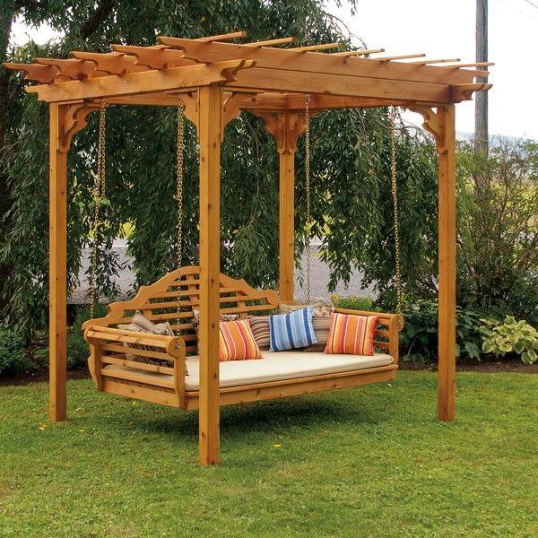Cedar Pergola Swing Bed. This is gorgeous!