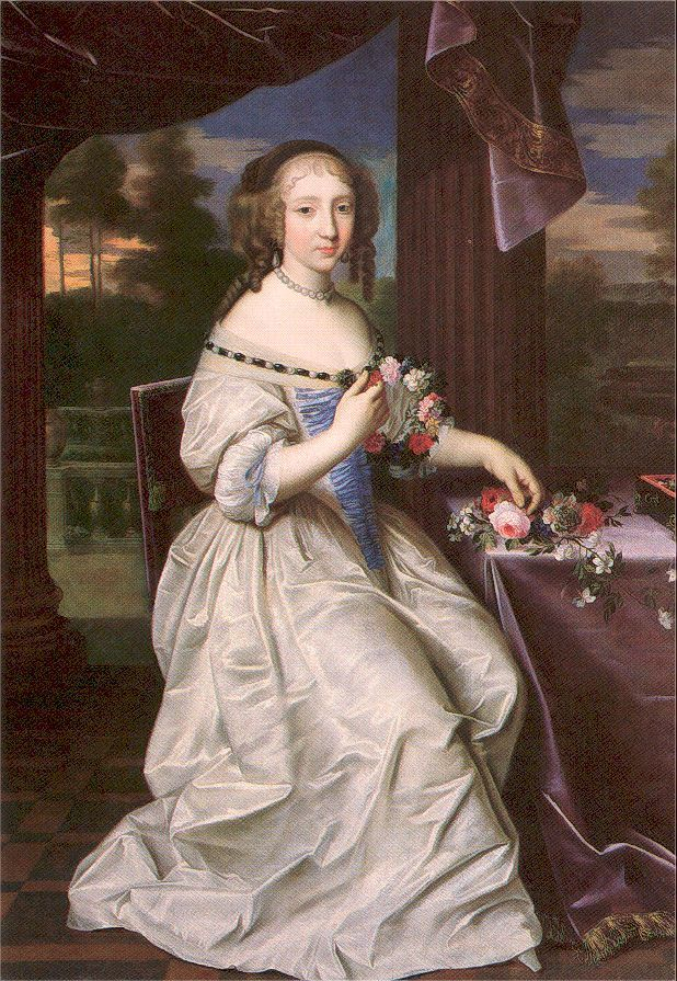1680 Young Lady by Pierre Mignard (location unknown to gogm) Previous Next List She wears a coiffure and dress, with a jeweled vee neckline and deep vee waistline, straight out of a Beaubrun portrait in this 1680 Mignard portrait.