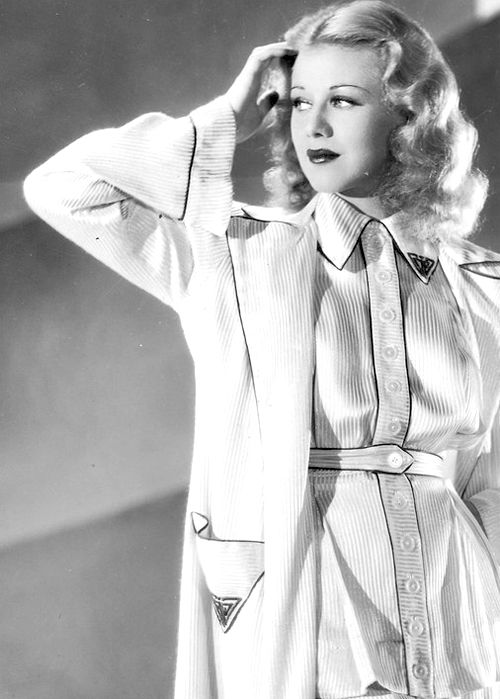 Ginger Rogers, 1935 30s pajamas photo print ad movie star fashion outfit white