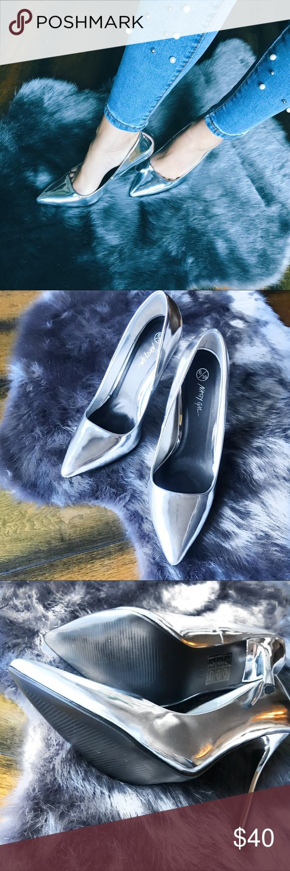 Silver Pointy Toe Pump Silver metallic point toe stiletto heel. Slip on design. Size EUR 39. They are new from Nast Gal. They say size 9 but I think they fit more like 8.5. They come with a box. Nasty Gal Shoes Heels