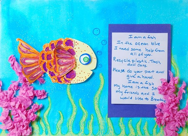 """Crayola has so many lesson plans for teachers to use at any grade level. I love """"A Paper Relief for the Coral Reef"""" project in particular because it connected language arts and art. Students read a story about coral reefs and learn about them, and get to draw their very own coral reef."""