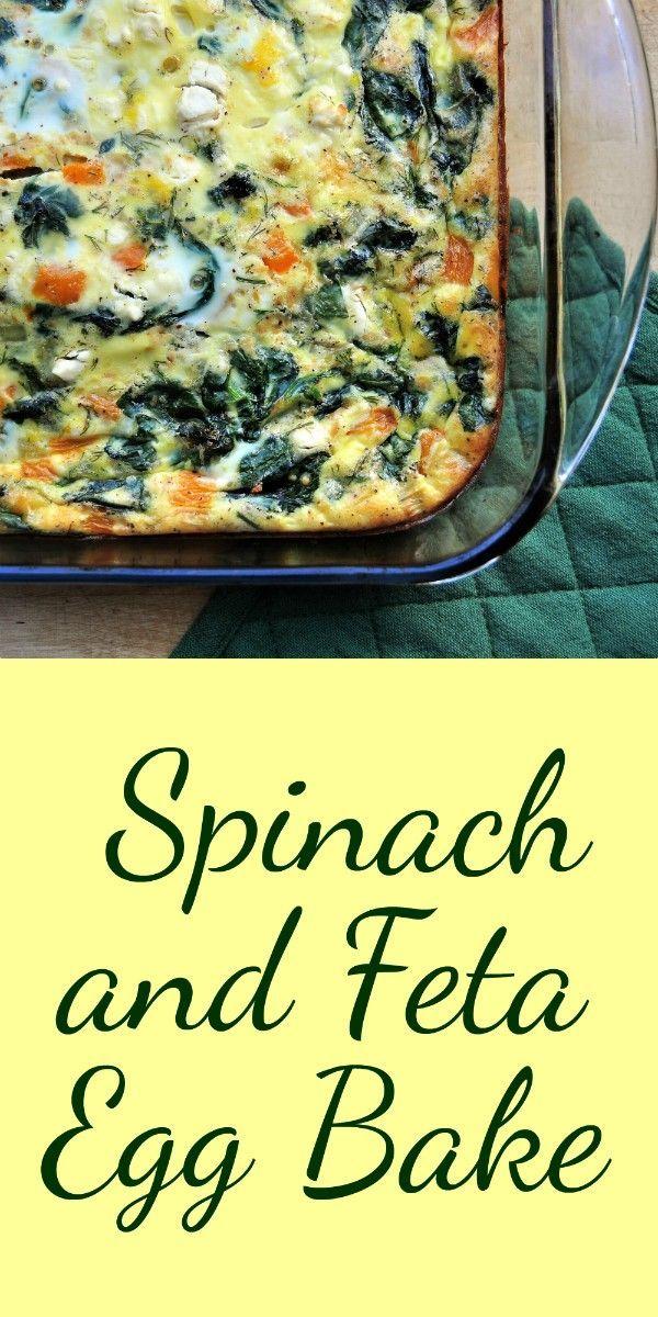 Spinach and Feta Egg Bake: easy vegetarian brunch or breakfast for dinner, pac …