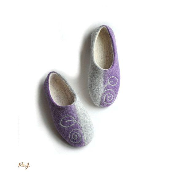 Handmade felted slippers greylilac by RitaJFelt on Etsy, $65.00