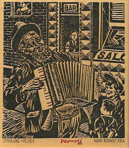 "Harry Kernoff, ""Strolling Player"" #art #music #streetperformer #streetmusic #blackandwhite #woodcut #DukeStreetGallery"