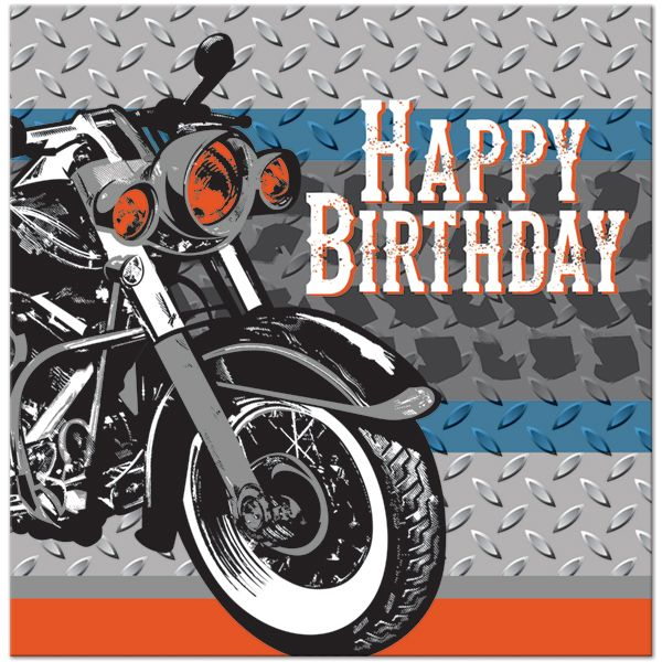 kids motorcycle themed birthday party | Biker Party Happy Birthday Lunch Napkins (16)