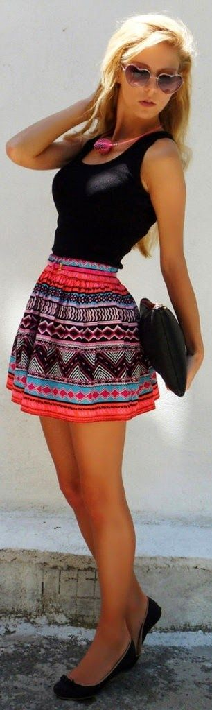 Darling tribal skater skirt and black tank!  Women's teen street style fashion clothing outfit for spring and summer
