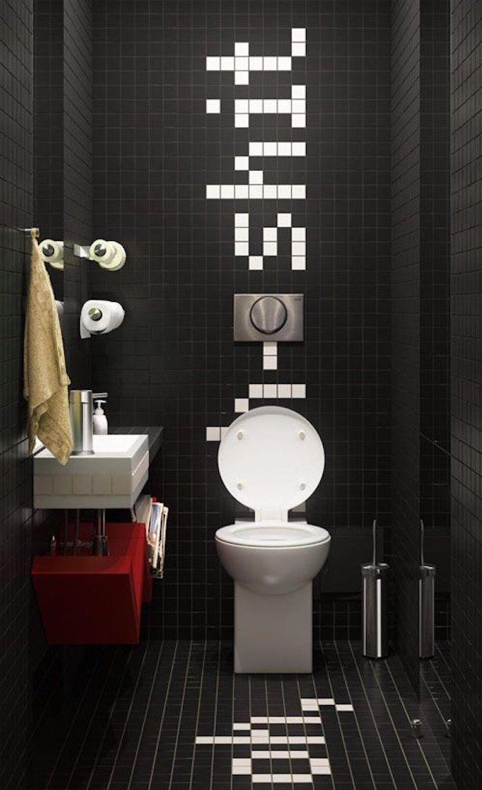 decoration wc moderne toilette carrelage peinture noire humour 10 best images on Pinterest