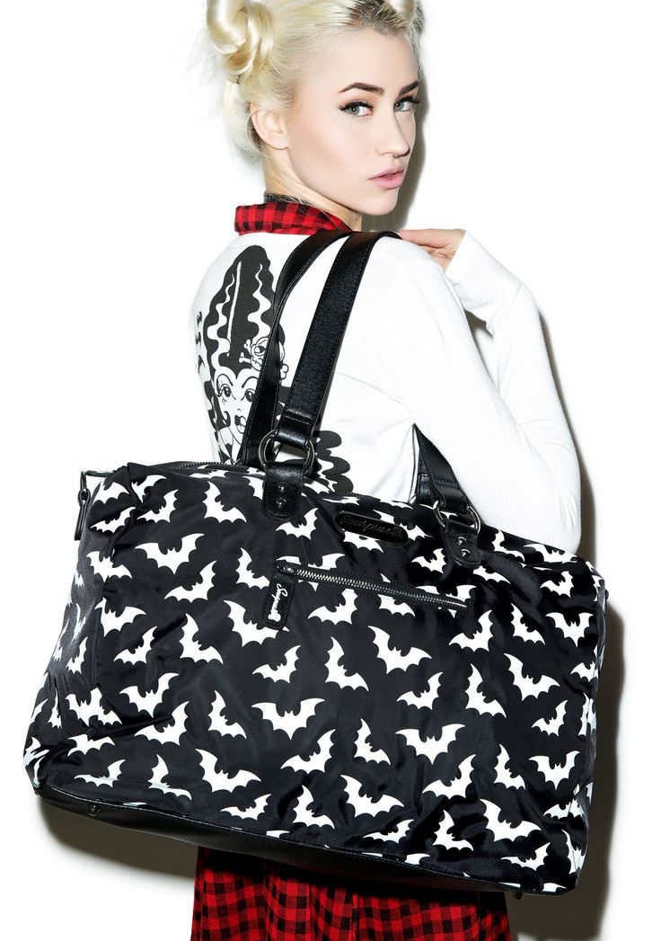 Sourpuss Clothing Spooksville Bats Travel Bag | Dolls Kill