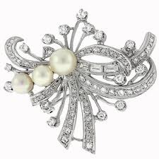 Vintage pearl and diamond brooch