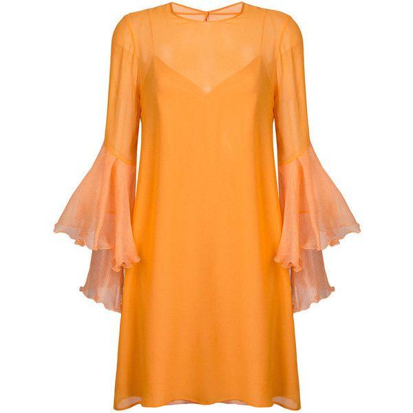 Galvan Orange Trumpet Sleeve Dress ($1,325) ❤ liked on Polyvore featuring dresses, orange, orange silk dress, trumpet dress, orange dress, silk dress and sleeved dresses