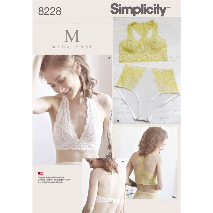 Simplicity 8228: Lovers of lace get inspired with these bra and panties by Maddie Flanigan. Pattern includes soft cup bras in halter or racer back, and panties with scalloped lace trimmings. Bras sized 32A to 42DD, panties sized XS-XL. Instructions for determining bra size are included in sewing instructions; see the back of envelope chart for determining panty sizes based on waist measurements. Bra-making with Madalynne.
