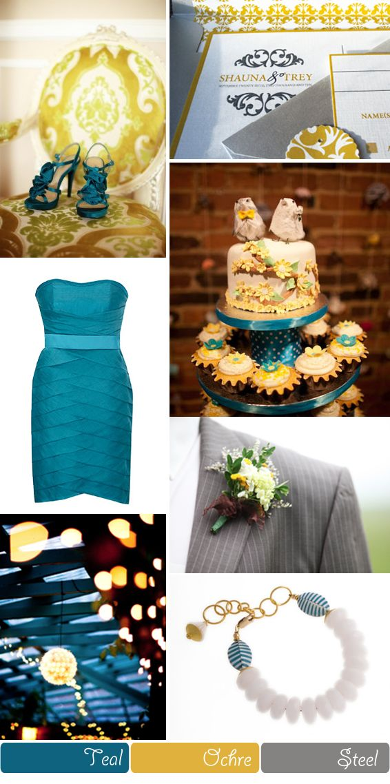 Blue, Yellow and Grey Wedding Colour Scheme. Could see my sister Mandee issuing these colors. Very pretty