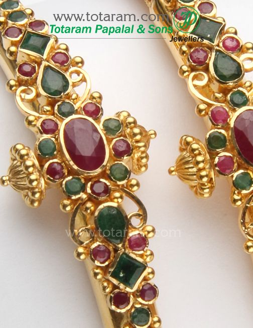 Totaram Jewelers: Buy 22 karat Gold jewelry & Diamond jewellery from India: 22 Karat Gold Kada with Emeralds & Rubies - 1 Pair