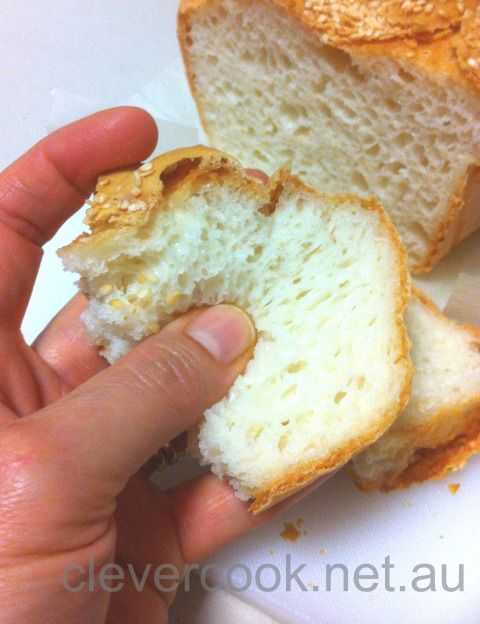 A recipe for an AMAZING #glutenfreebread. Can see the sponginess. Not crumbly. VERY light/airy