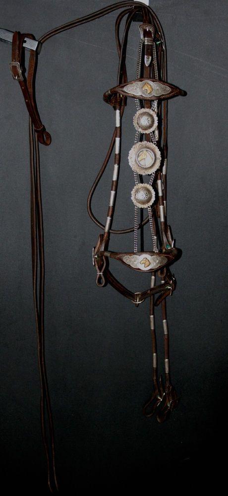Vintage sterling silver parade bridle conchos buckles ...