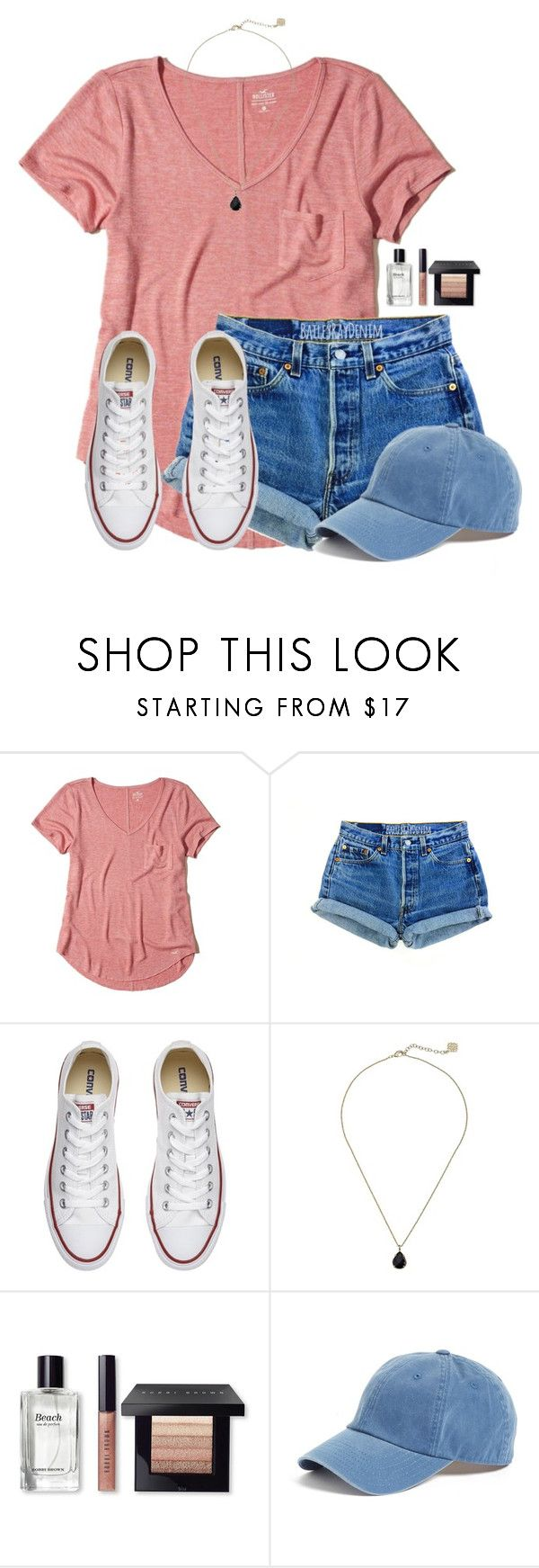 """I really want some pizza:)"" by victoriaann34 on Polyvore featuring Hollister Co., Converse, Kendra Scott, Bobbi Brown Cosmetics and American Needle"
