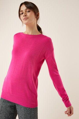 5b4f27b9c3dc Bright Pink Cosy Boat Neck Sweater