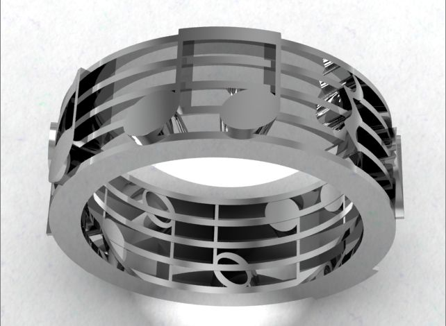 Music Note Ring. Hehe  So too cheesy for a wedding but I like the color (for Drew) and the idea of incorporating music into our wedding bands.